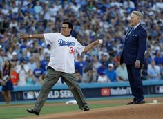 October 25, 2017:  WATCH: Vin Scully, Fernando Valenzuela, Steve Yeager move crowd during Game 2 first pitch.  Baseball's loveable legend Vin Scully hands ball to Fernando Valenzuela for first pitch duties prior to Game 2 of the World Series, and the Dodger Stadium crowd loved it.