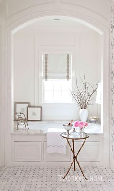 Traditional Home - Marie Flanigan - Serene Bathroom Dressed in Silver | Traditional Home