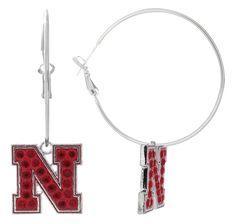 Red Crystal Nebraska N Hoop Earrings