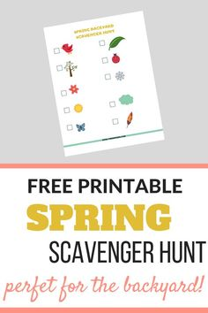 Spring Backyard Scavenger Hunt Free Printable - Keri Lynn Snyder Outdoor Activities For Toddlers, Educational Activities For Kids, Sensory Activities, Backyard Scavenger Hunts, Scavenger Hunt For Kids, Raising Godly Children, Teaching Letters, Parent Resources, Family Night