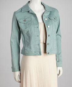 Take a look at this Seafoam Button-Up Denim Jacket on zulily today!