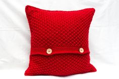 Red Cushion Cover Crochet Cushion Cover Red by TorvaigDesigns