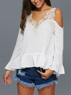 V Neck Hollow Out Crochet Lace Spliced Blouse. Blusa branca com detalhes em renda guipir! Summer 2017.