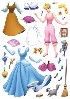 종이인형 (신데렐라) : 네이버 블로그 * 1500 free paper dolls from a… - Paper Ideas Disney Paper Dolls, Barbie Paper Dolls, Vintage Paper Dolls, Frozen Paper Dolls, Antique Dolls, Paper Dolls Clothing, Doll Clothes, Paper Toys, Paper Crafts