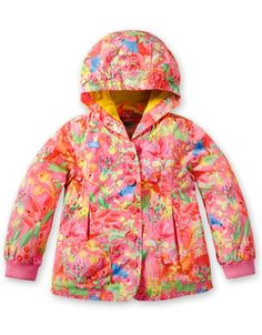 Chiraffe pink hooded coat with animal tope jungle print all over. Front button fastening with elasticated cuffs. PRE-ORDER NOW FOR DELIVERY IN FEBRUARY-MARCH 2013.    Product code: YS13GCO206  Regular Price: £82.99