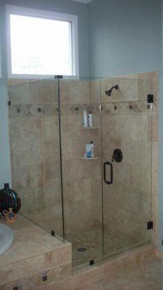 Image of semi frameless sliding doors on an tiled shower enclosure ...