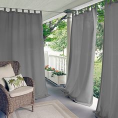 Indoor/outdoor tab top window curtain drape single panel gives your windows a look of simple sophistication with the durability to withstand the elements. A cinch to hang and adjust place in the patio Outdoor Curtains For Patio, Gazebo Curtains, Indoor Outdoor, Outdoor Pergola, Pergola Ideas, Pergola Plans, Outdoor Ideas, Patio Shade, Decor Pillows