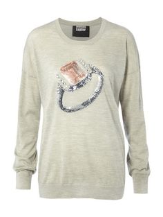 Laura Jumper with Embellished Diamond Ring Markus Lupfer, Knitwear, Jumper, Horses, Crop Tops, Ring, Diamond, Sweaters, T Shirt