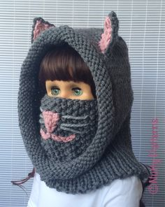 Knitting patterns Cat Hooded Cowl Instant by nuttypatterns Knitting For Kids, Baby Knitting Patterns, Crochet For Kids, Crochet Patterns, Nose Warmer, Pom Pom Baby, Knitted Hats, Crochet Hats, Hooded Cowl