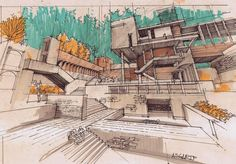 The use of only a few different coloured marker helps to give a clear understanding of the space. Great use of techniques shown in this drawing to represent light and shade in the perspective.