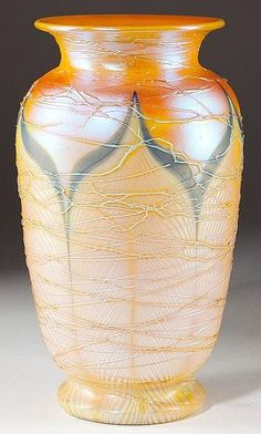 """Durand Pulled Feather Art Glass Vase with applied threading, flared rim and foot, ground pontil. Unmarked, H 10.5"""""""