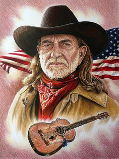 """Willie Nelson-American Legend is an original colored drawing to be used as a cross stitch pattern by a U. It pay tribute to Willie in a patriotic way and includes his famous guitar """"Trigger"""" Country Artists, Country Singers, Country Music, Portrait Sketches, Pencil Portrait, Art Music, Music Artists, Ranger, Legend Drawing"""