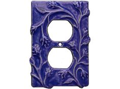 Ceramic Outlet Cover vine design in sapphire by HoneybeeCeramics, $20.00