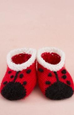 Sweet Lady Bug Booties Free Knitting Pattern from Red Heart Yarns