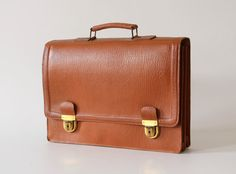 Vintage leather  briefcase genuine leather by HorsesForCourses