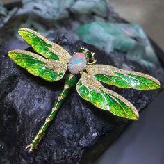@t_k_l_jewelry. Beautiful Dragonfly enamel Brooch.