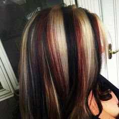 pinwheel hair color - I love the red shade in this picture Red To Blonde, Black And Blonde, Blonde Color, Color Red, Haircut And Color, Hair Color For Black Hair, Coiffure Hair, Hair Color Highlights, Chunky Blonde Highlights