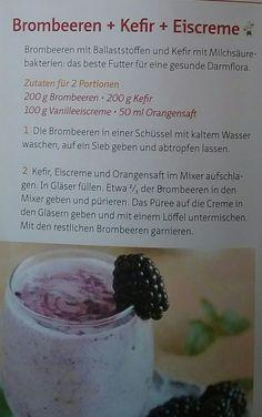 Brombeeren, Kefir und Eiscreme
