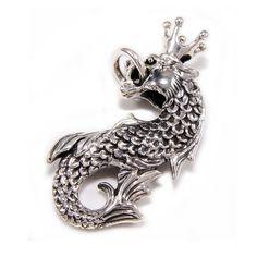 King/Dragon/SeaHorse/925 Sterling Silver Pendant/Silver Crown Charm/Seahorse Pendant/Charm/Gothic/Biker Jewelry/Men's/Women's cs-021 Skull Pendant, Dragon Pendant, Dragon Seahorse, Silver Skull Ring, Gothic Rings, Sterling Silver Pendants, Biker, Crown, King