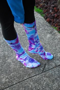 Tie Dye Nike socks Blue Berries on Etsy, $14.00