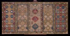 1586-88. Embroidered altar frontal of linen canvas embroidered with wool, linen and silk in long-armed cross stitch. The stitches are worked both horizontally and vertically to suit the pattern.
