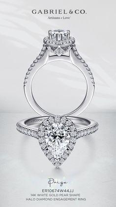 14K White Gold Pear Shape Halo Diamond Engagement Ring ER10674W44JJ #GabrielNY #UniqueJewelry #HaloEngagementRings #PearShapedEngagementRing #WhiteGoldEngagementRings #EngagementRings Engagement Ring For Her, Pear Shaped Engagement Rings, Engagement Ring Shapes, Halo Diamond Engagement Ring, Pear Shaped Diamond, Diamond Cuts, Gabriel Jewelry, Rings For Her, White Gold