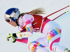 Lindsey Vonn in her Spyder Women's Performance GS Race Suit 2016 - (995) Vonn 2 while racing World Cup at Val d' Isere.
