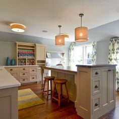 I love the look of this craft room:  lots of space and storage