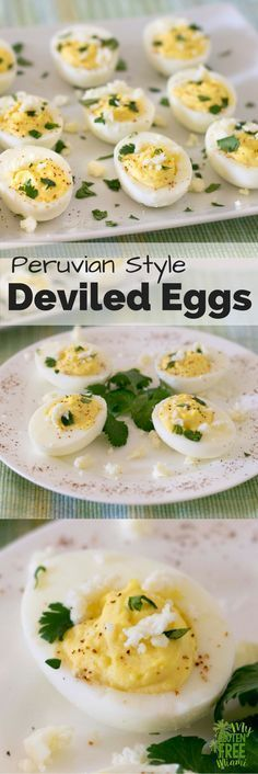 Peruvian Deviled Eggs are a delicious twist on traditional deviled egg with a bit of heat, bit of smokiness, and a salty bite. They are sure to be a hit! Peruvian Dishes, Peruvian Cuisine, Peruvian Recipes, Egg Recipes, Side Dish Recipes, Gluten Free Recipes, Party Recipes, Gluten Free Appetizers, Appetizer Recipes