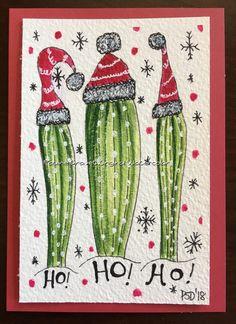 Desert Cactus Christmas watercolor card Painted Christmas Cards, Watercolor Christmas Cards, Watercolor Cards, Watercolor Painting, Christmas Rock, Christmas Cactus, Reindeer Christmas, Handmade Christmas, Christmas Doodles