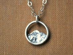 Tiny Mountain Charm Necklace Simple Silver by GatherAndFlow