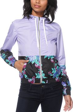 Zumiez Empyre Orla Lavender Floral Windbreaker Jacket Found on my new favorite app Dote Shopping #DoteApp #Shopping