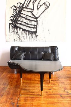 Piano Lid Coffee Table  Sleek Modern Conversation by OakPlace