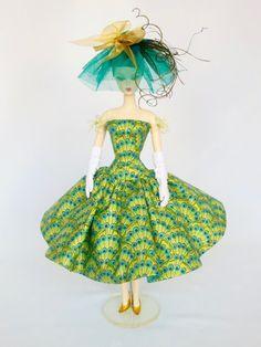 OOAK Silkstone Barbie Outfit robe chapeau gants de mode - «Peacock» 816