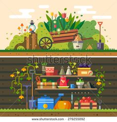 Spring and summer. Work in the garden. cultivation of land, flowers, wooden wall, warehouse, tools and materials for planting. Vector flat illustration - stock vector