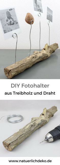 DIY Fotohalter aus Treibholz – Natürlich Deko Easily craft a photo bar made of driftwood and wire for holiday memories. Diy Home Crafts, Diy Crafts For Kids, Crafts To Sell, Wood Crafts, Sell Diy, Decor Crafts, Diy Wood, Craft Ideas, Diy Photo