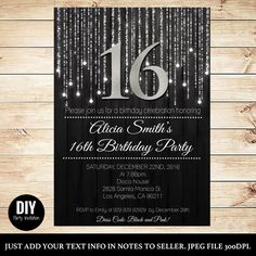 Black and silver sweet 16 invitations - Sweet 16 downdolable - Silver invitations for teenage - Sixteen 16 - Download invitations