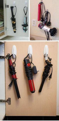 Hang Hot Tools on Command Hooks | 25 DIY Beauty Hacks Every Girl Should Know | Easy Bathroom Organization Hacks Dollar Stores