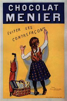 Cartel antiguo de la marca Chocolat Menier, de toda la vida.                                                                                                                                                      Plus