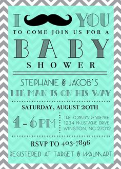 Mustache Baby Shower Invitation 10ct. by theSouthernGrace on Etsy