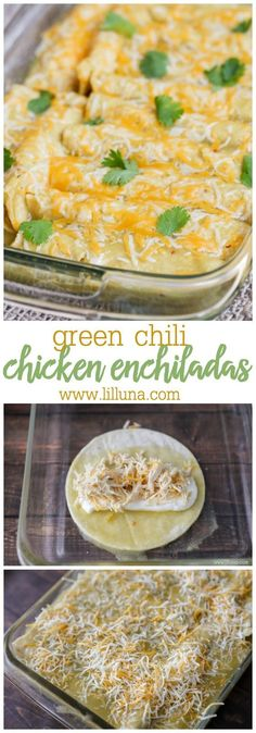 One of our favorite Mexican dishes - Green Chile Chicken Enchiladas recipe!! Corn tortillas stuffed with chicken, cheese, las palmas green chile enchilada sauce, sour cream, and green chiles, topped with more sauce and cheese!