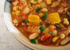 Tunisian Bean and Chickpea Stew with pumpkin