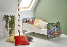 "Pat pentru copii ""Happy Jungle"", White / Multicolor, 140 x 70 cm Jungles, Kidsroom, Toddler Bed, Happy, Furniture, Design, Home Decor, Bedroom Kids, Child Bed"
