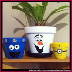 Dollar Store Crafter: Turn Dollar Store Terracotta Pots Into Olaf Minion And Cookie Monster Planters Flower Pot Art, Flower Pot Design, Clay Flower Pots, Flower Pot Crafts, Clay Pots, Diy Flower, Clay Pot Projects, Clay Pot Crafts, Painted Plant Pots