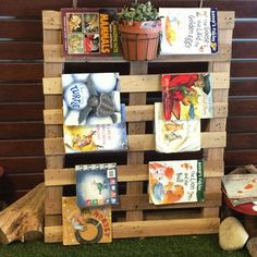 Pallet book display - from 'Let the Children Play'