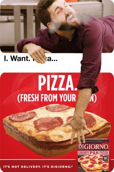 Look at that piping hot DiGiorno Crispy Pan Pizza baked fresh from your oven!,Funny, Funny Categories Fuunyy Look at that piping hot DiGiorno Crispy Pan Pizza baked fresh from your oven! You'll never want to wait for delivery again a. Ads Creative, Creative Video, Creative Posters, Food Graphic Design, Ad Design, Exhibit Design, Clever Advertising, Advertising Design, Social Media Design