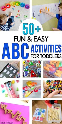 50  Alphabet Activities for Toddlers - you'll love this list of hand-on ways to introduce the alphabet through play. Easy indoor activities, fun outdoor activities, and sensory-based play for toddlers and preschoolers.