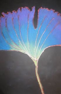 mrspicasso's art room: Large Leaves- glued lines with chalk