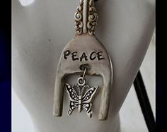 Fork Necklace Vintage Silverware Pendant, Butterfly Charm Stamped PEACE Pendant Recycled Silverware Jewelry