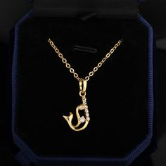 45cm 18K Gold Plated Lovely Dolphin Shape Inlay Zircon Pendant Copper Necklace Copper Necklace, Dog Tag Necklace, Beaded Necklace, Fashion Necklace, Fashion Jewelry, Dolphins, 18k Gold, Jewelry Gifts, Shapes